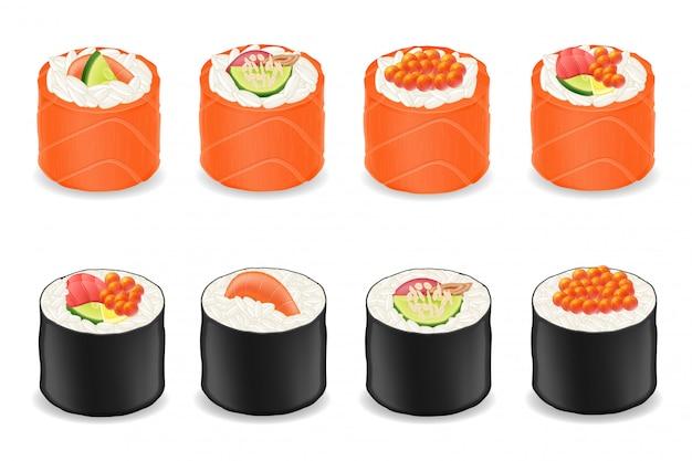 Sushibroodjes in rode vissen en zeewier nori vectorillustratie Premium Vector