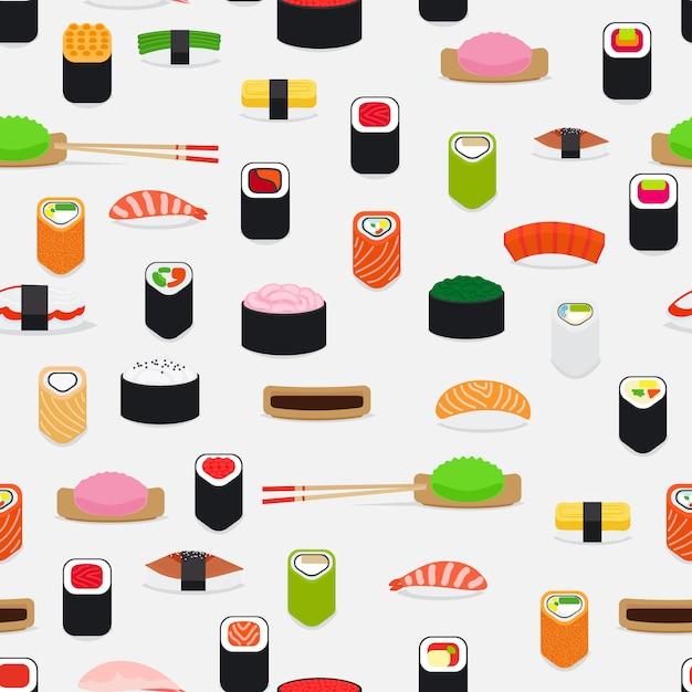 Sushipatroon met kleurrijke vlakke elementen op wit Premium Vector
