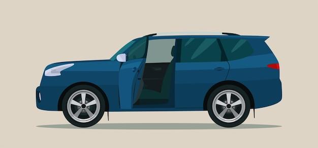 Suv-auto met open bestuurders- en passagiersdeur. illustratie. Premium Vector