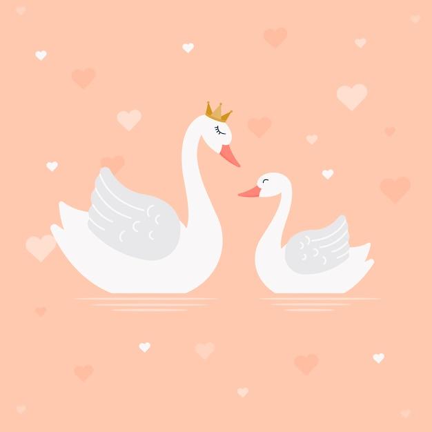 Swan prinses illustratie ontwerp Gratis Vector