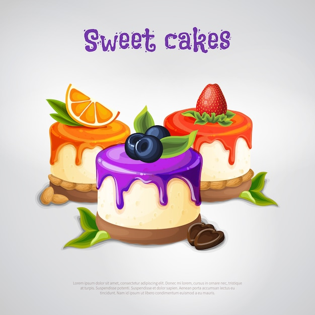 Sweet cakes-samenstelling Gratis Vector