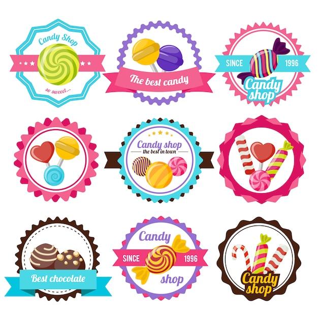 Sweet candy flat embleem Gratis Vector