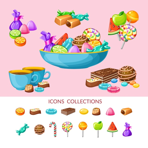 Sweet candy icon set-samenstelling Gratis Vector