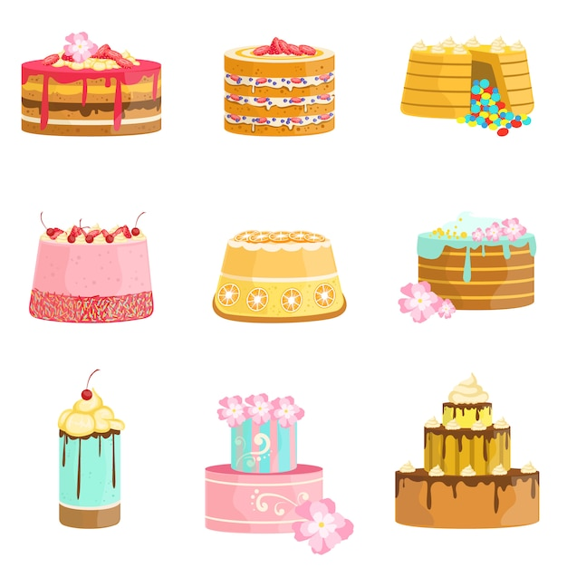 Sweet party gelaagde taarten assortiment Premium Vector