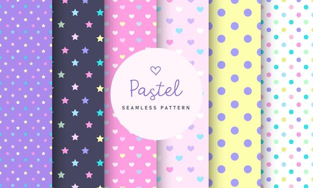 Sweet pastel naadloze patroon collectie. Gratis Vector