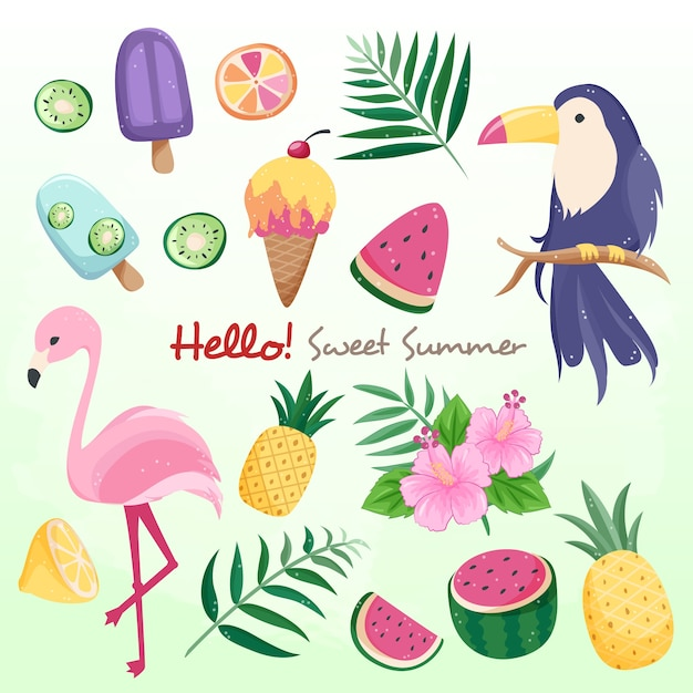 Sweet summer birds and fruits Premium Vector