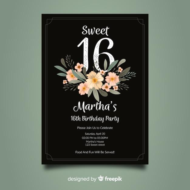 Sweet zestien verjaardagsuitnodiging Gratis Vector