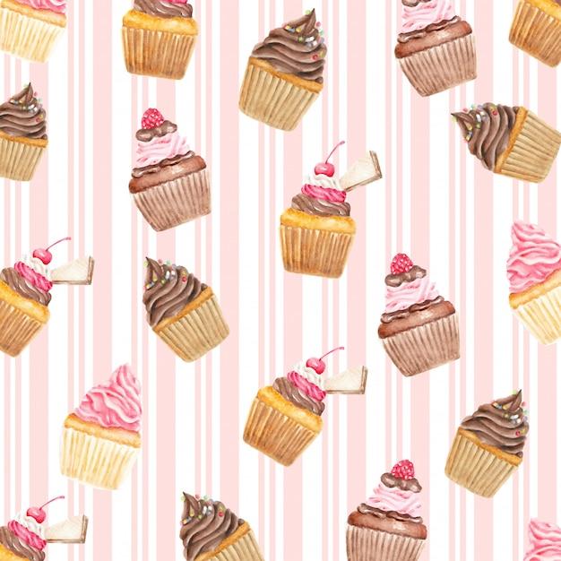 Sweety cupcakes kers en wafel patroon aquarel Premium Vector