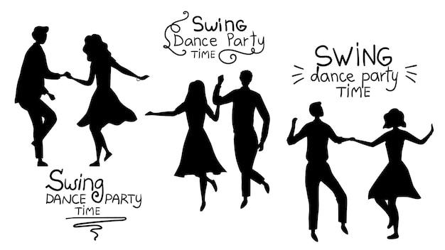 Swind dance party time concept. zwarte silhouetten van jonge koppels zijn dancing swing, rock and roll of lindy hop. Premium Vector