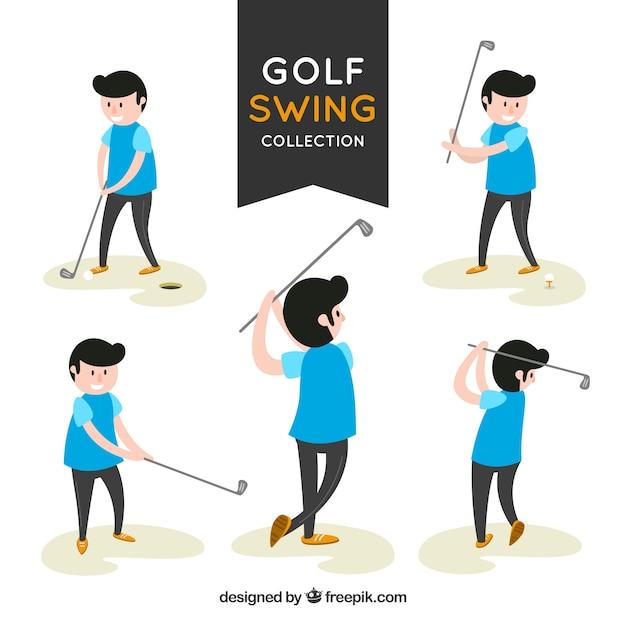Swing golfcollectie met spelers Gratis Vector