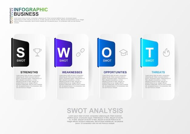 Swot-analyse infographic voor zakelijke sjabloon met platte ontwerp van 4 muti-kleur in vector. moderne swot-analysebanner Premium Vector