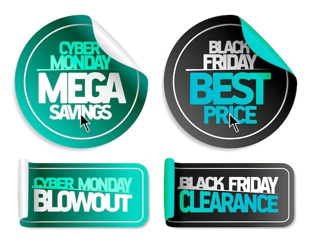 Syber monday mega-besparingen, syber monday blowout, black friday-beste prijs en black friday-uitverkoop - set met uitverkoopstickers Premium Vector
