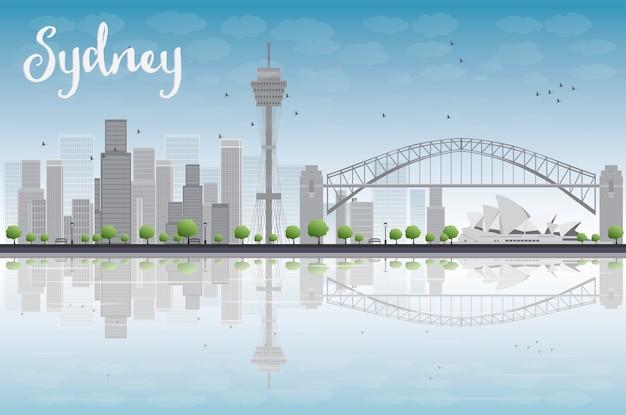 Sydney city-horizon met blauwe hemel en wolkenkrabbers Premium Vector