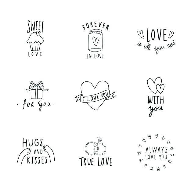 Symbolen van liefde icon set vector Gratis Vector