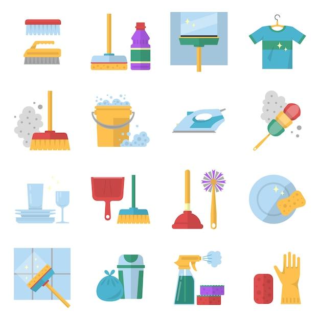 Symbolen voor schoonmaakservice. verschillende gekleurde gereedschappen in cartoon stijl. Premium Vector