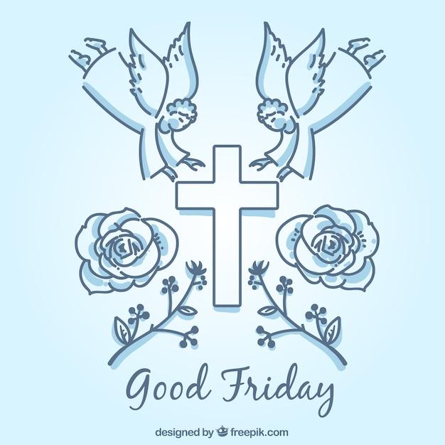Symbolische elementen van goede vrijdag achtergrond Gratis Vector