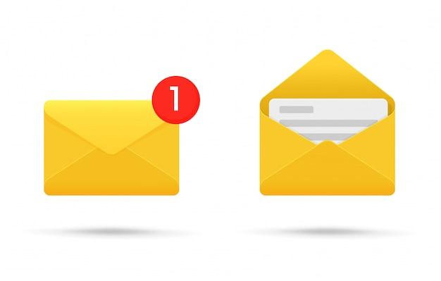 Symbool- of sms-melding op elektronische apparaten. Premium Vector