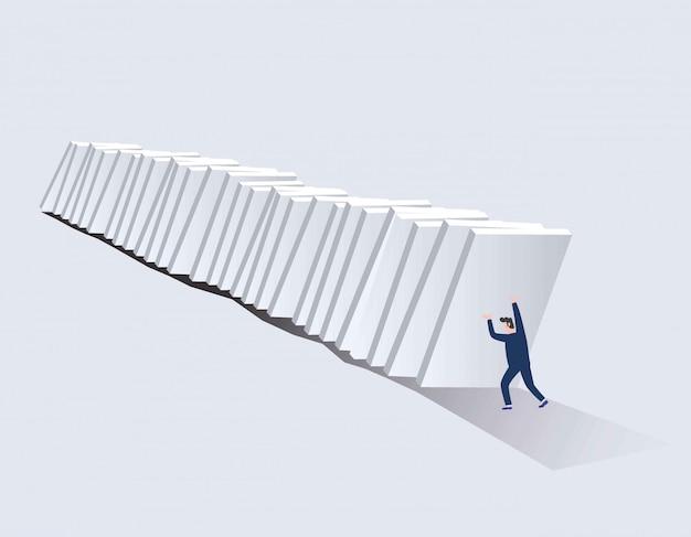 Symbool van crisis, risico, management, leiderschap en vastberadenheid. Premium Vector