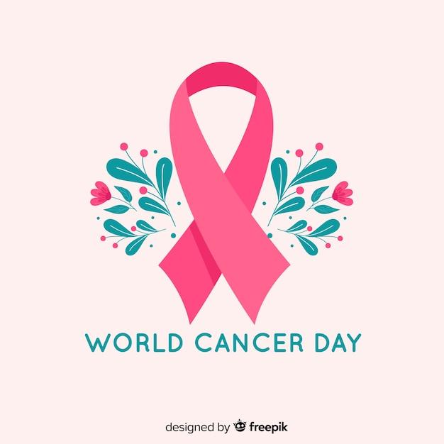 Symbool van de strijd tegen het platte ontwerp en bloemen van borstkanker Gratis Vector