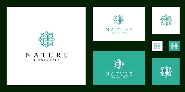 Symbool voor yogalessen, natuurlijke, biologische voedingsproducten en verpakking logo set Premium Vector