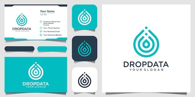 Symbool water met lijn kunststijl. druppel of olijfolie met lijn kunststijl voor mobiel concept en web. set van logo en visitekaartje Premium Vector