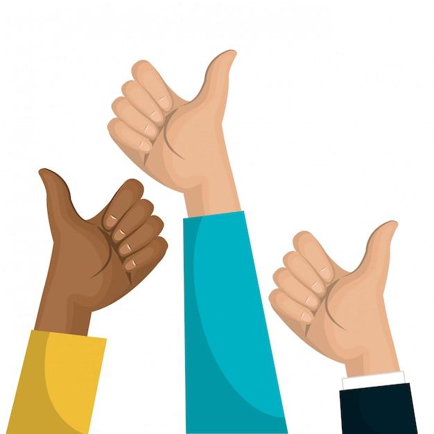Symboolhand zoals multicultureel teamontwerp Premium Vector