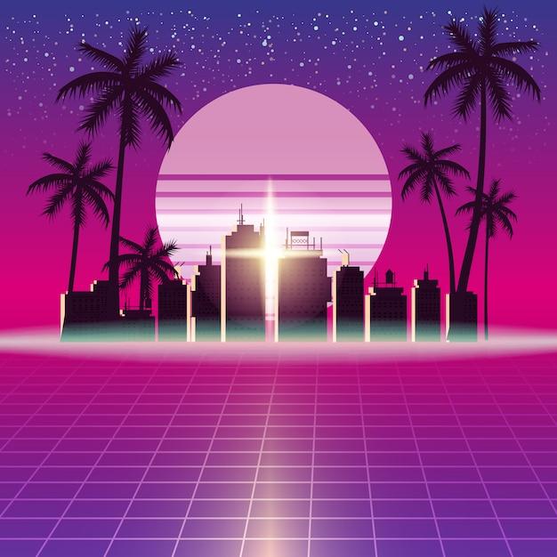Synthwave retro futuristisch landschap met stad Premium Vector