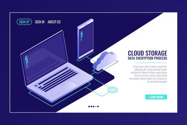 Systeem van storende bestandsopslag, laptop met smartphone, uploaden van gegevens op externe serverruimte Gratis Vector