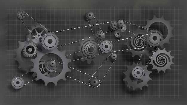 Systeem van tandwielen en tandwielen die met ketting werken. donkere zwarte tandwielen en radertjes op schoolbord Premium Vector