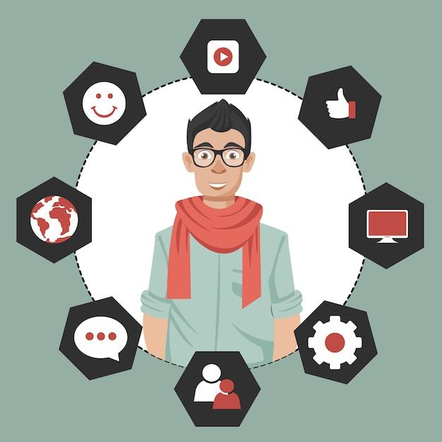 Systeem voor het beheren van interacties met huidige en toekomstige klanten Premium Vector