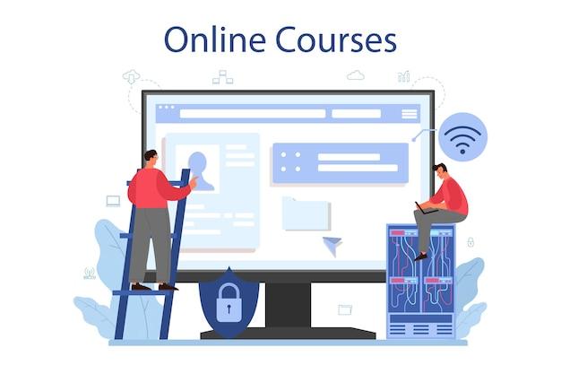 Systeembeheerder online service of platform. mensen die op de computer werken en technisch werk met de server doen. online cursus. Premium Vector