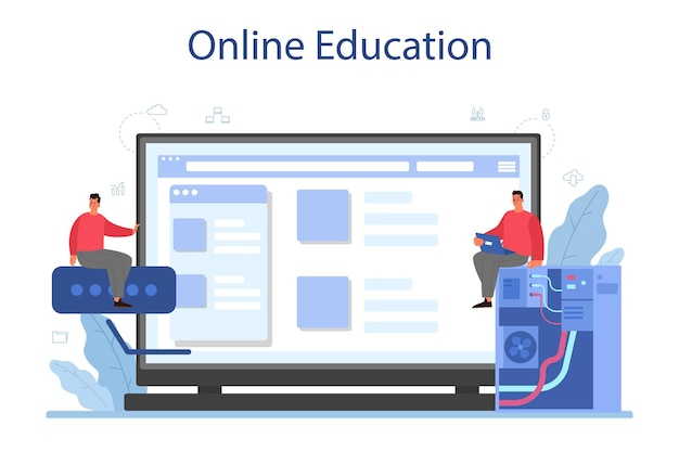 Systeembeheerder online service of platform Premium Vector