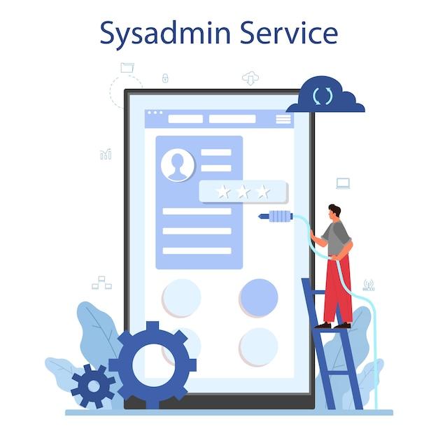 Systeembeheerder online service of platformillustratie Premium Vector