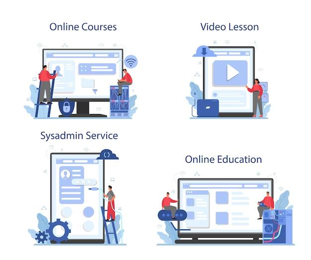 Systeembeheerder online service of platformset. Premium Vector