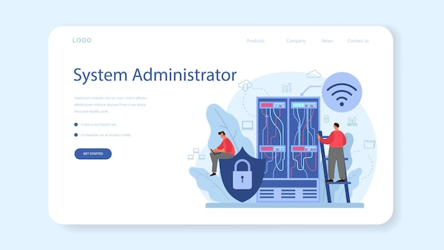 Systeembeheerder webbanner of bestemmingspagina Premium Vector