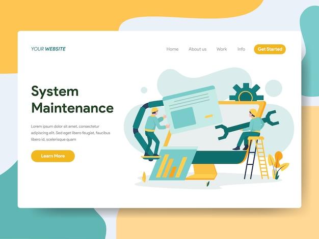 Systeemonderhoud voor websitepagina Premium Vector