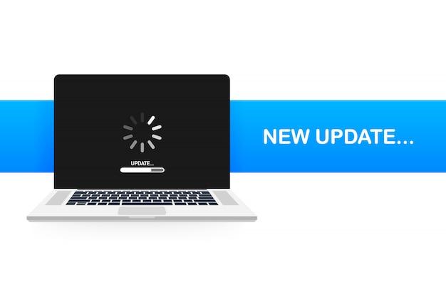 Systeemsoftware-update, gegevensupdate of synchroniseren met voortgangsbalk op het scherm. illustratie Premium Vector