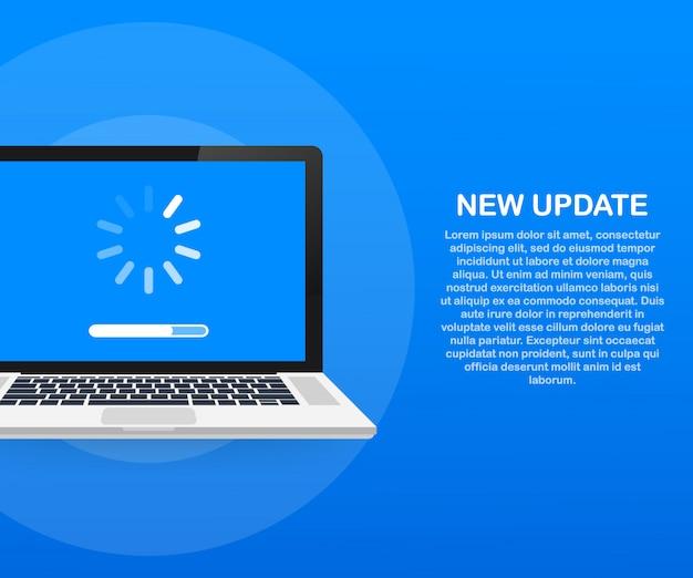 Systeemsoftware-update, gegevensupdate of synchroniseren met voortgangsbalk op het scherm. vector illustratie Premium Vector