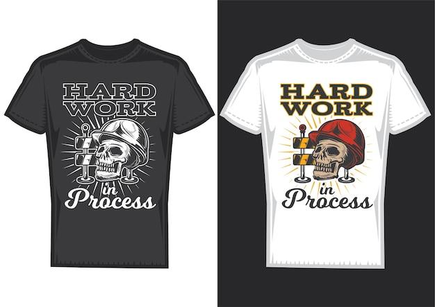 T-shirt design samples met afbeelding van een schedel met veiligheidshelm. Gratis Vector