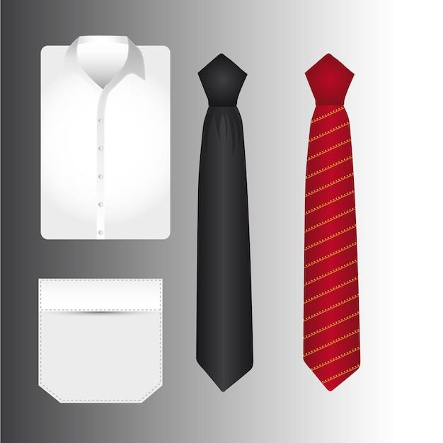 T-shirt een stropdas over grijze achtergrond vectorillustratie Premium Vector