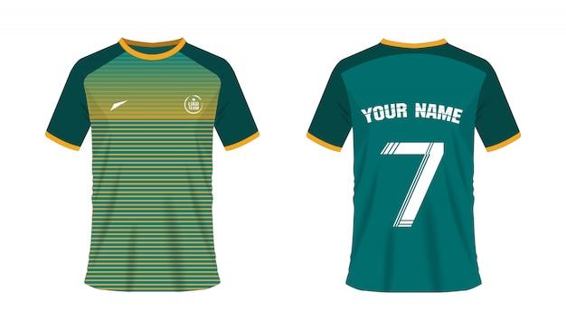 T-shirt groen en geel voetbal of voetbalsjabloon voor teamclub. jersey sport, Premium Vector