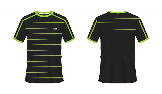 T-shirt groen en zwart voetbal of voetbal sjabloon voor teamclub op wit Premium Vector