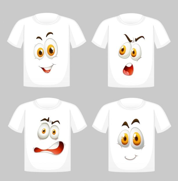 T-shirt met gezichten vooraan Gratis Vector