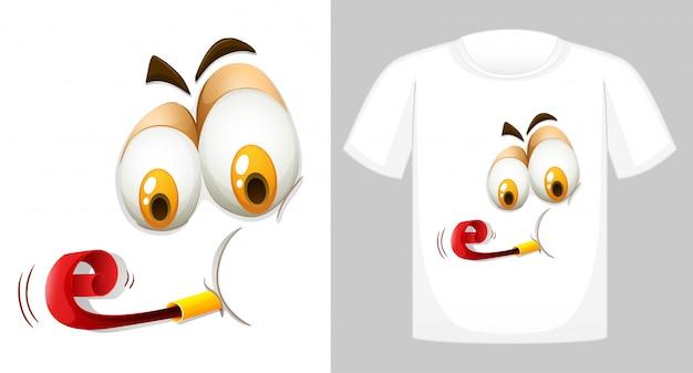 T-shirt met grappig gezicht Gratis Vector