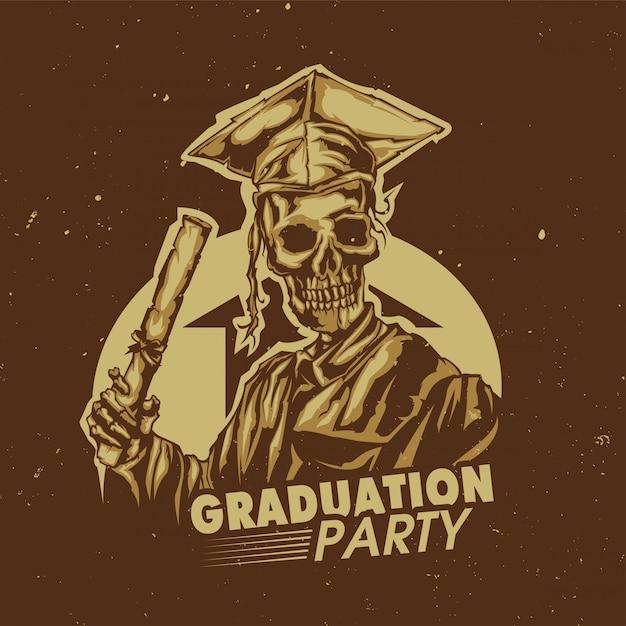 T-shirt of posterontwerp met illustraion van afstuderen van skelet Gratis Vector