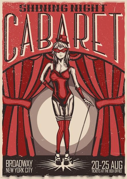 T-shirt of posterontwerp met illustratie van cabaretdanseres meisje Gratis Vector