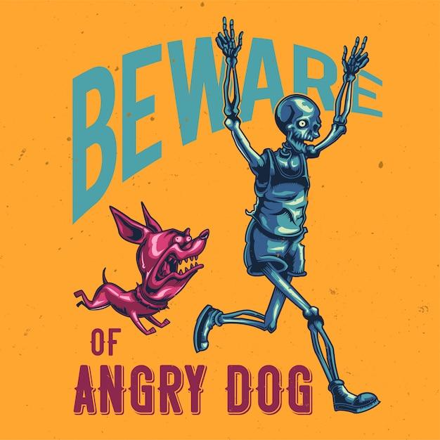 T-shirt of posterontwerp met illustratie van een lopend skelet. Gratis Vector