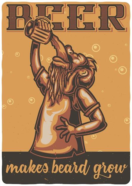 T-shirt of posterontwerp met illustratie van een man met een glas bier. Gratis Vector