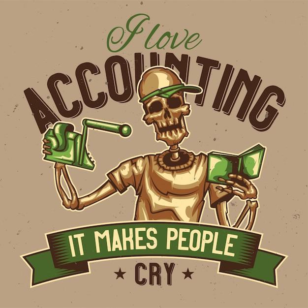 T-shirt of posterontwerp met illustratie van een skeletaccountant. Gratis Vector