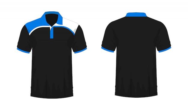 T-shirt polo blauw en zwart sjabloon voor ontwerp op witte achtergrond. Premium Vector